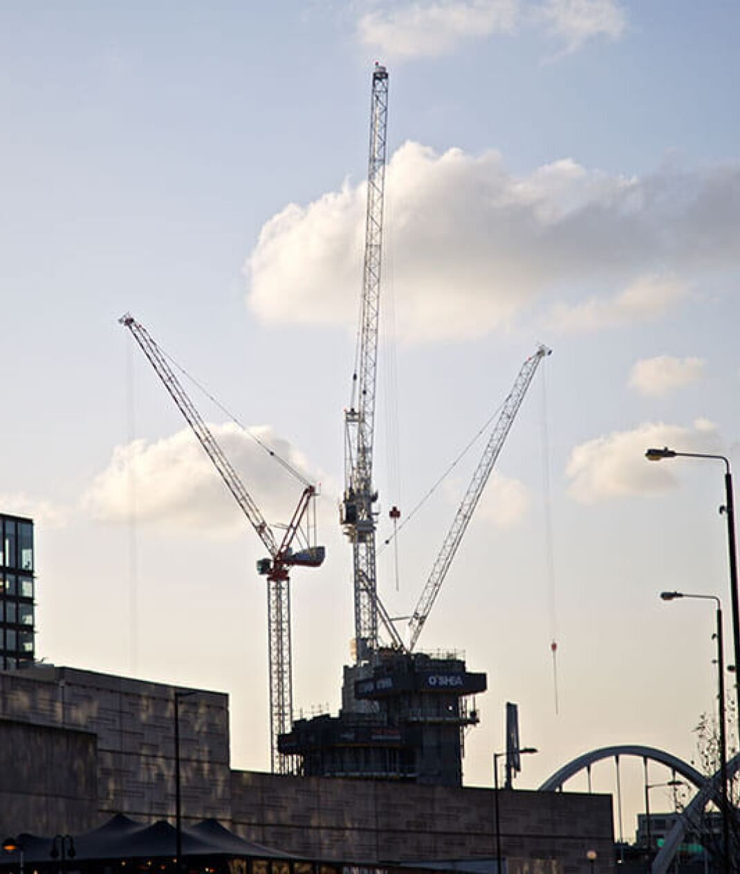 london skyline with three cranes