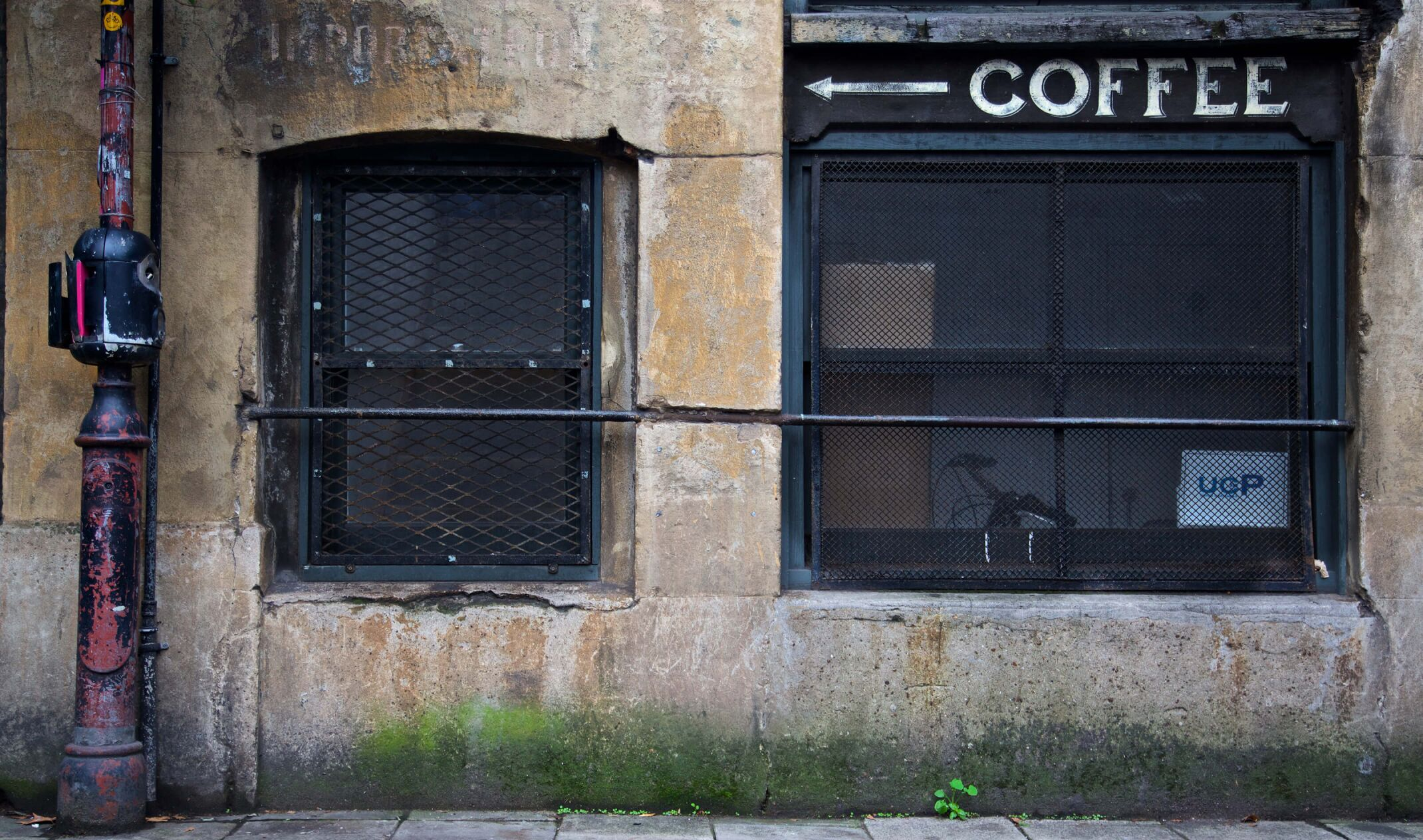 london street with vintage coffee sign