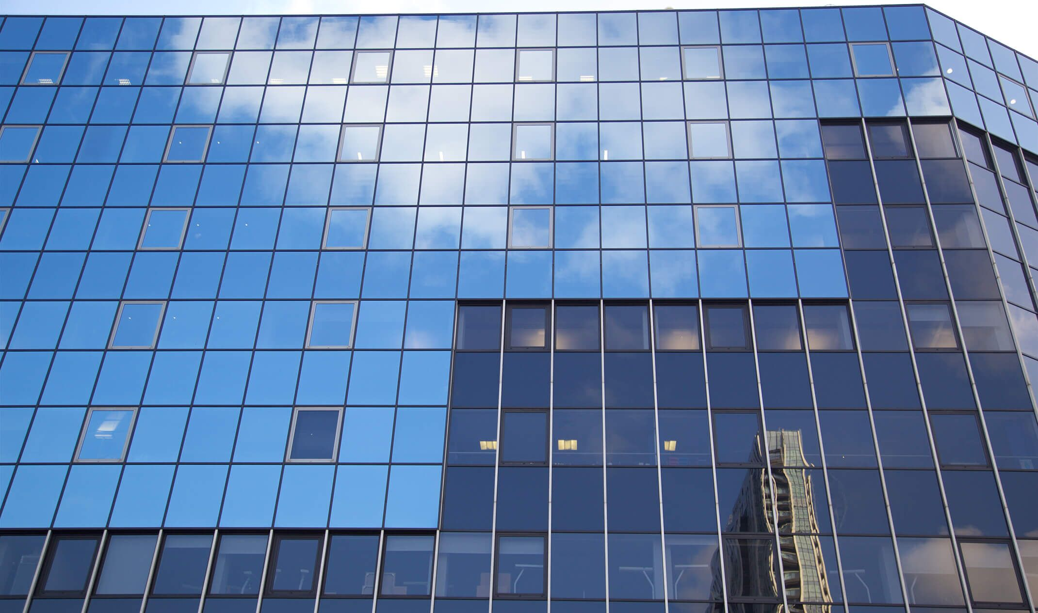 blue glass office building
