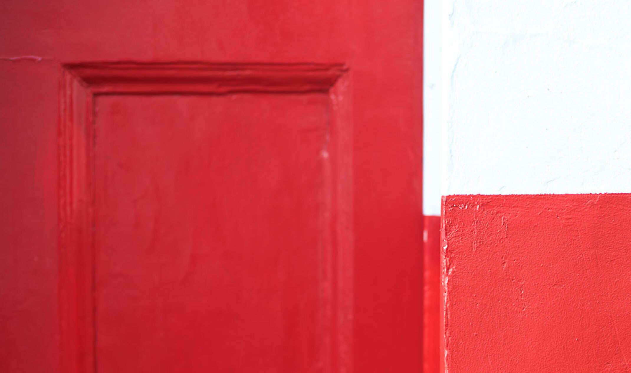 red door and white wall