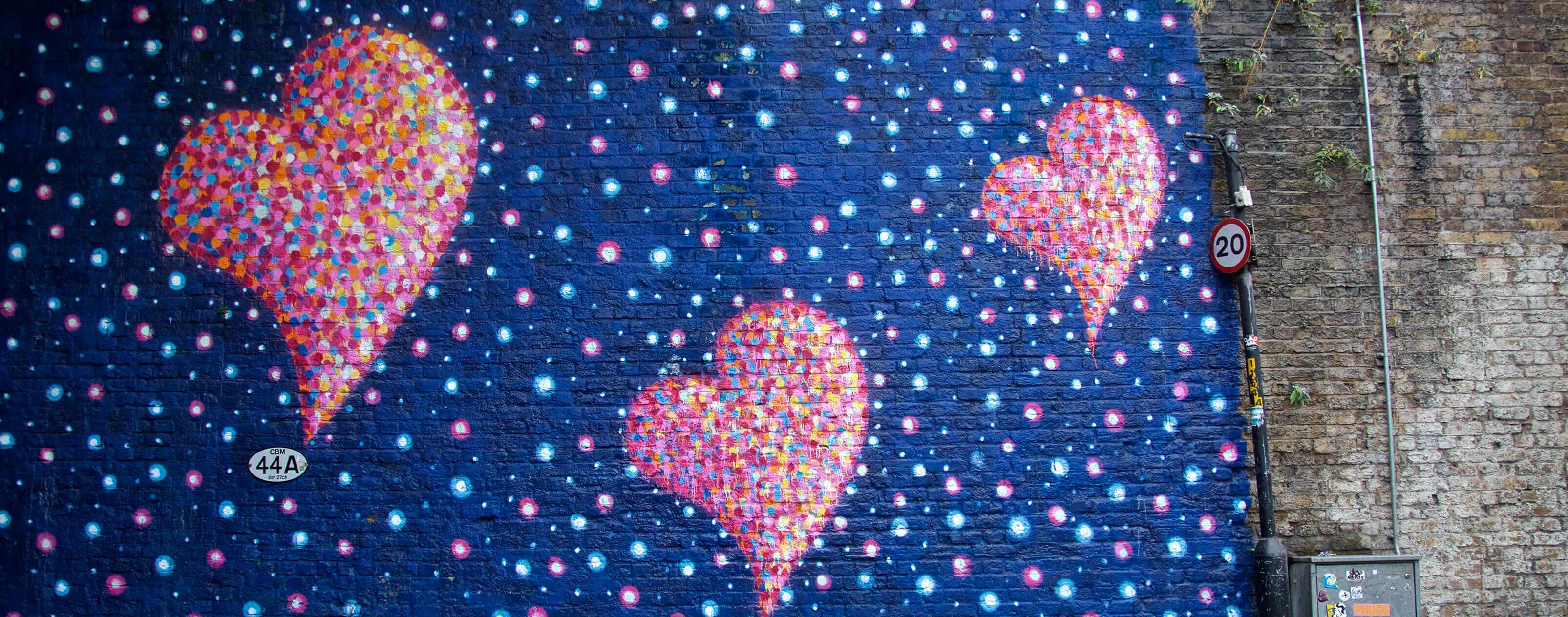 wall of graffiti hearts